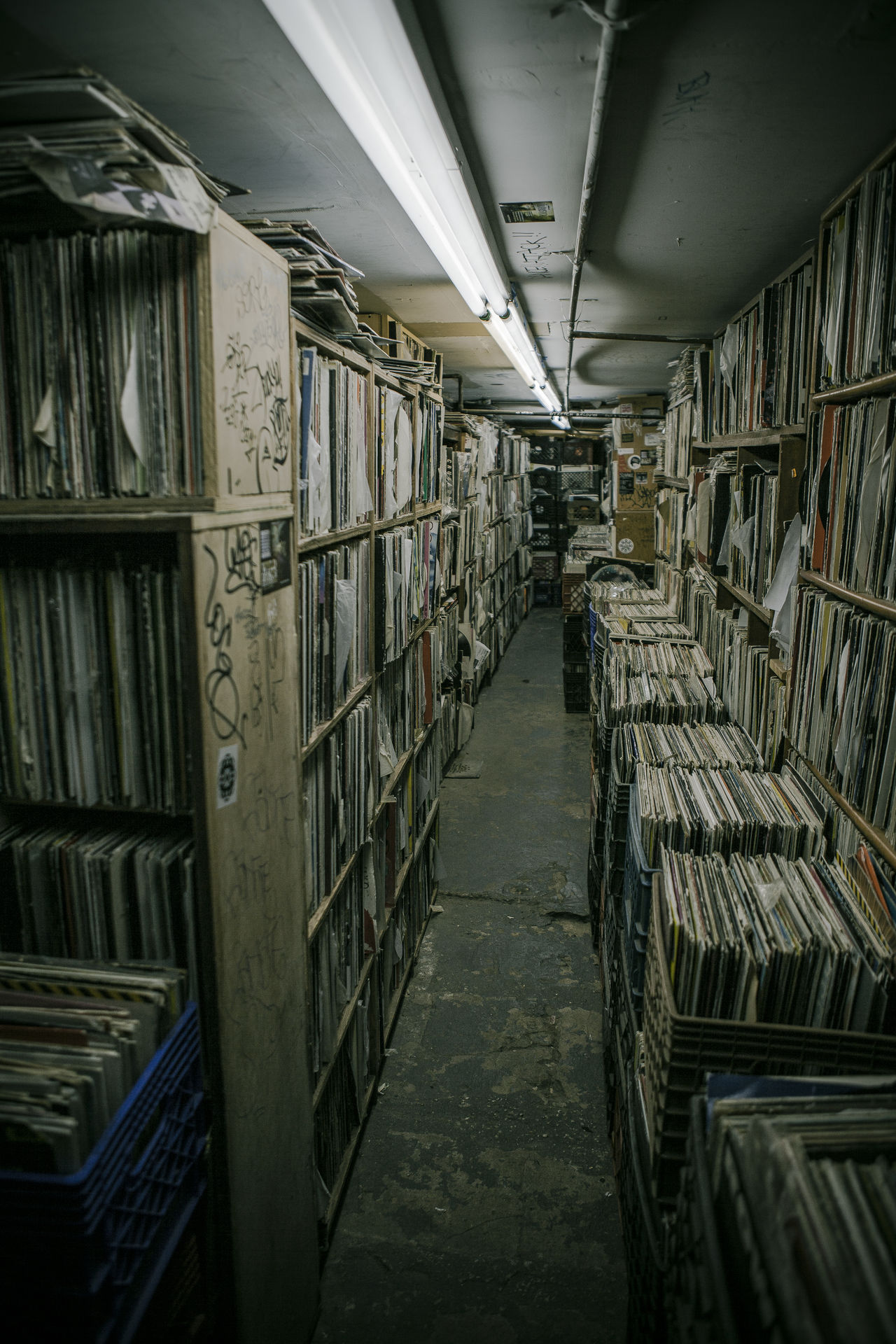 Basement Box Boxes Collection Dark Graffiti Hip Hop HipHop In A Row Indoors  Large Group Of Objects Neon Lights New York City No People NYC Rap Records Recordstore Shelf Urban Vintage Vinyl