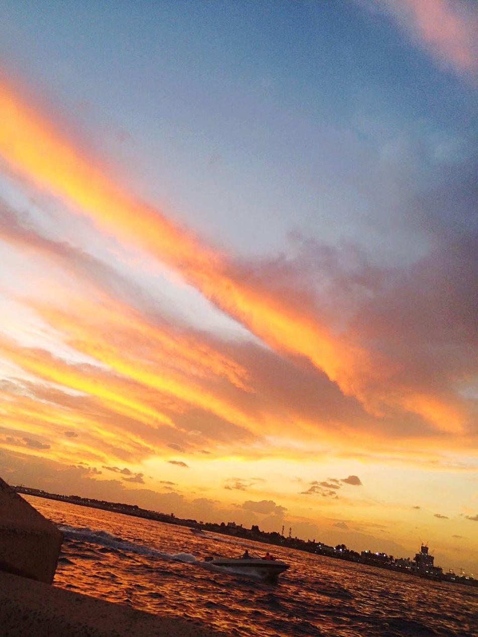 Sunset Sky Beach Sea Nature Water Cloud - Sky