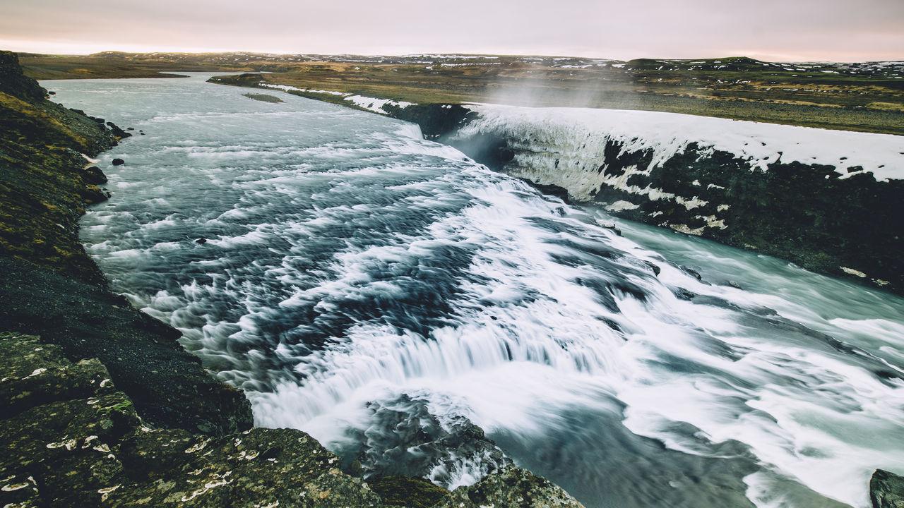 Beauty In Nature Gullfoss Iceland Landscape Mountains Nature No People Outdoors Rock - Object Scenics Sea Sunset Water Waterfalls Winter