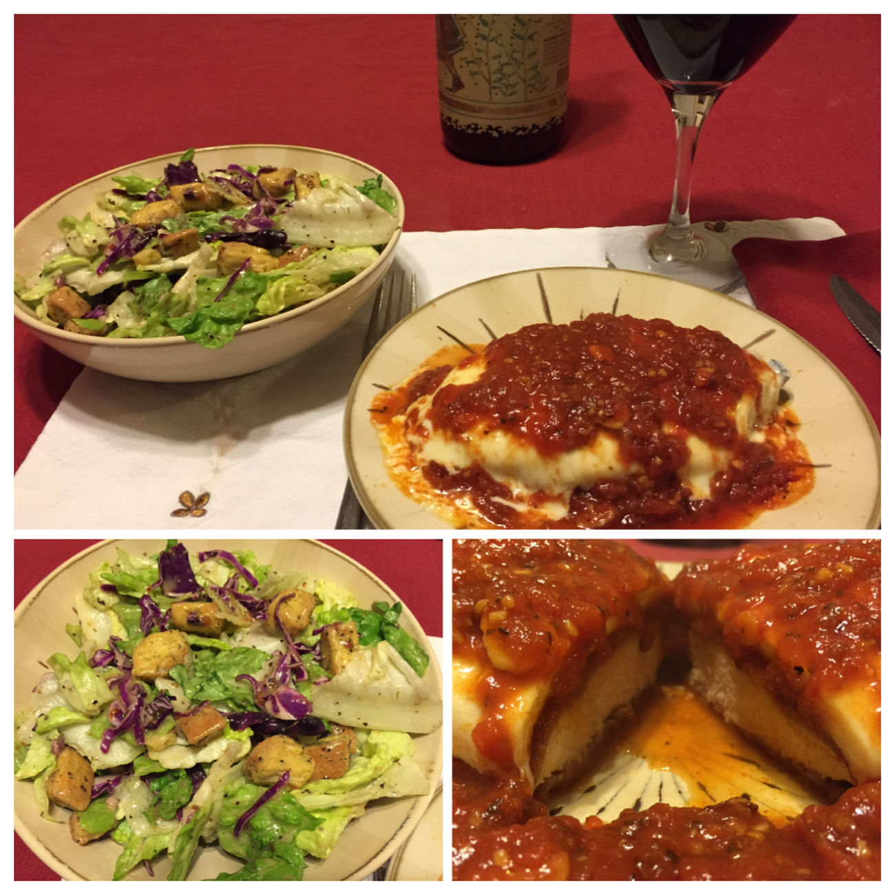 Chicken Parmesan with a nice salad and a bottle of my homemade 2013 Chilean Cabernet Sauvignon/Merlot blend wine ICanCookMyAssOff Nomnombomb TheExpensiveWinos MyFoodPics