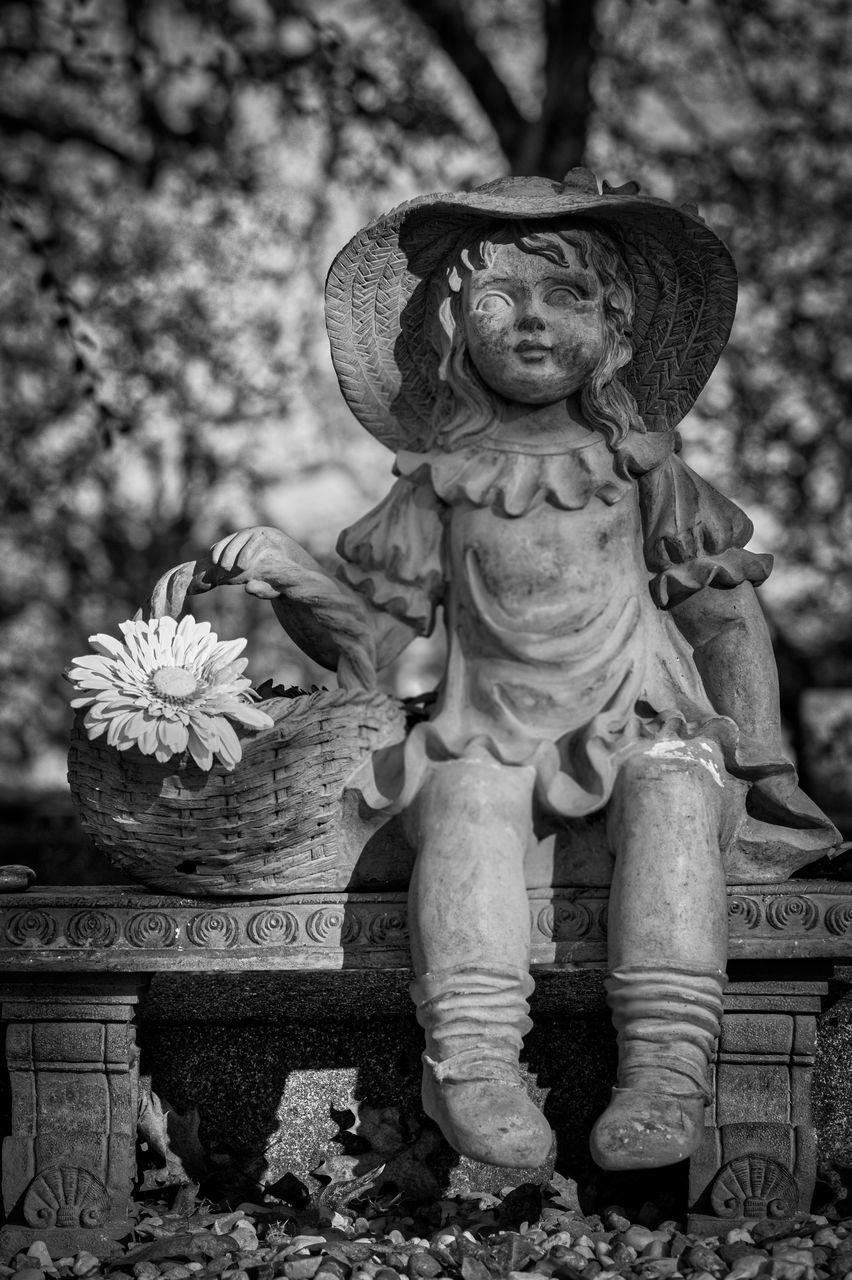 statue, human representation, sculpture, art and craft, religion, spirituality, day, outdoors, no people, tree