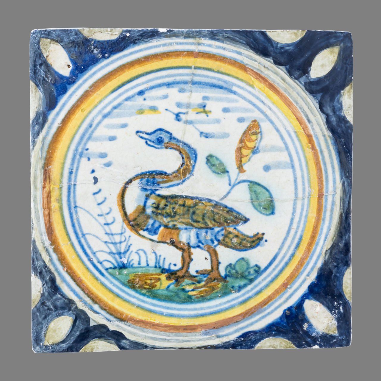 16th Century 17th Century 18th Century Bird Blue Ceramics Close-up Day Netherlands No People Tile Watercolor Painting White Background
