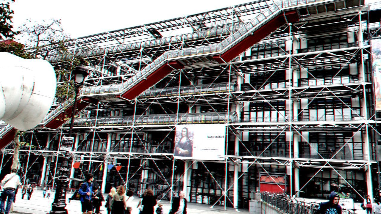 Architecture Architecture Built Structure Centre Pampidou Day Lifestyles Low Angle View Modern Museum Modern Structures Outdoors Paris Museum Sky Tubular Building