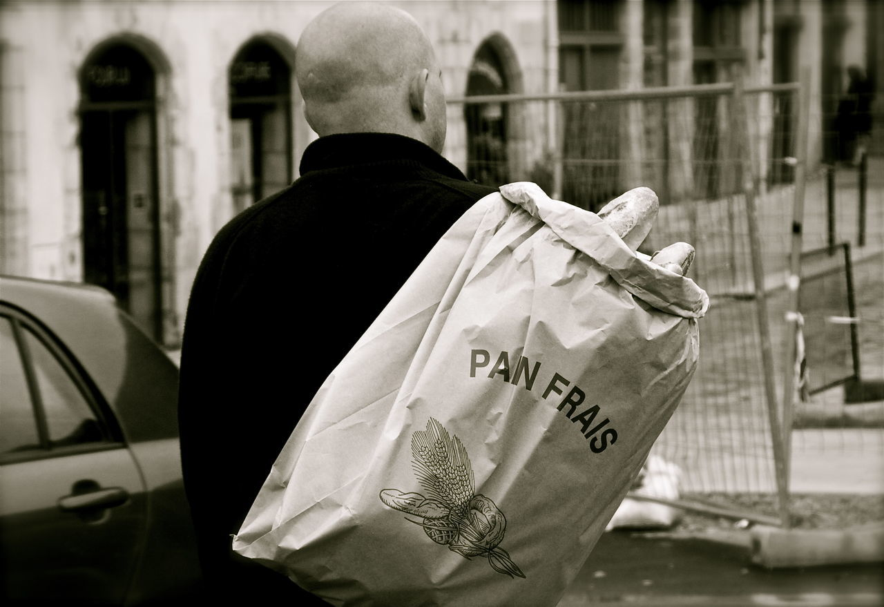 Abundance Back Baguette Bayonne Black And White Bread Casual Clothing Delivery Focus On Foreground France France Streets Freshly Baked Good Morning World! Kvission Leisure Activity Lifestyles Men Mónica Nogueira. Outdoors Selective Focus The Street Photographer - 2016 EyeEm Awards Traditional Culture