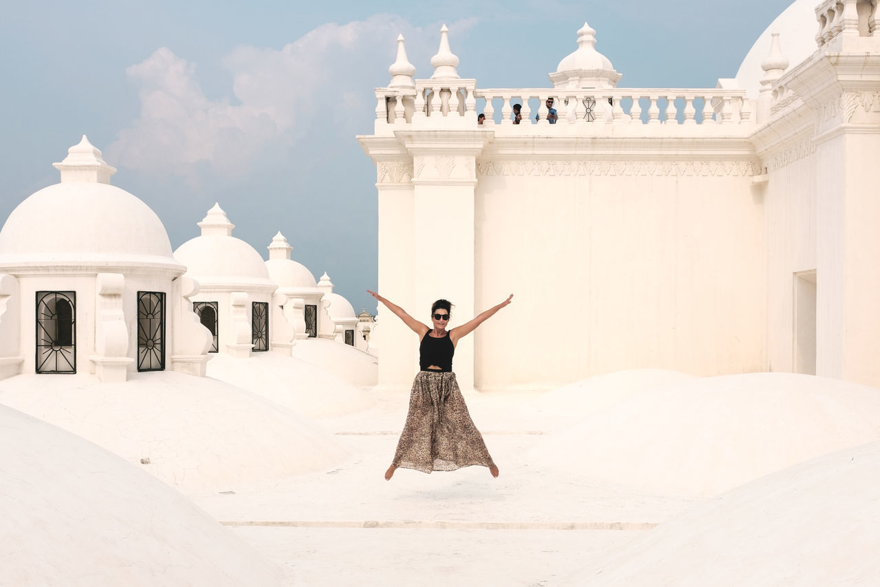 Architecture Beautiful Blue Sky Cathedral Church Day Dome Freedom Happy Jumping Leon Nicaragua On Top Of The World Outdoors Place Of Worship Roof Rooftop Sightseeing Sky Travel Travel Destinations View White Woman Young Women