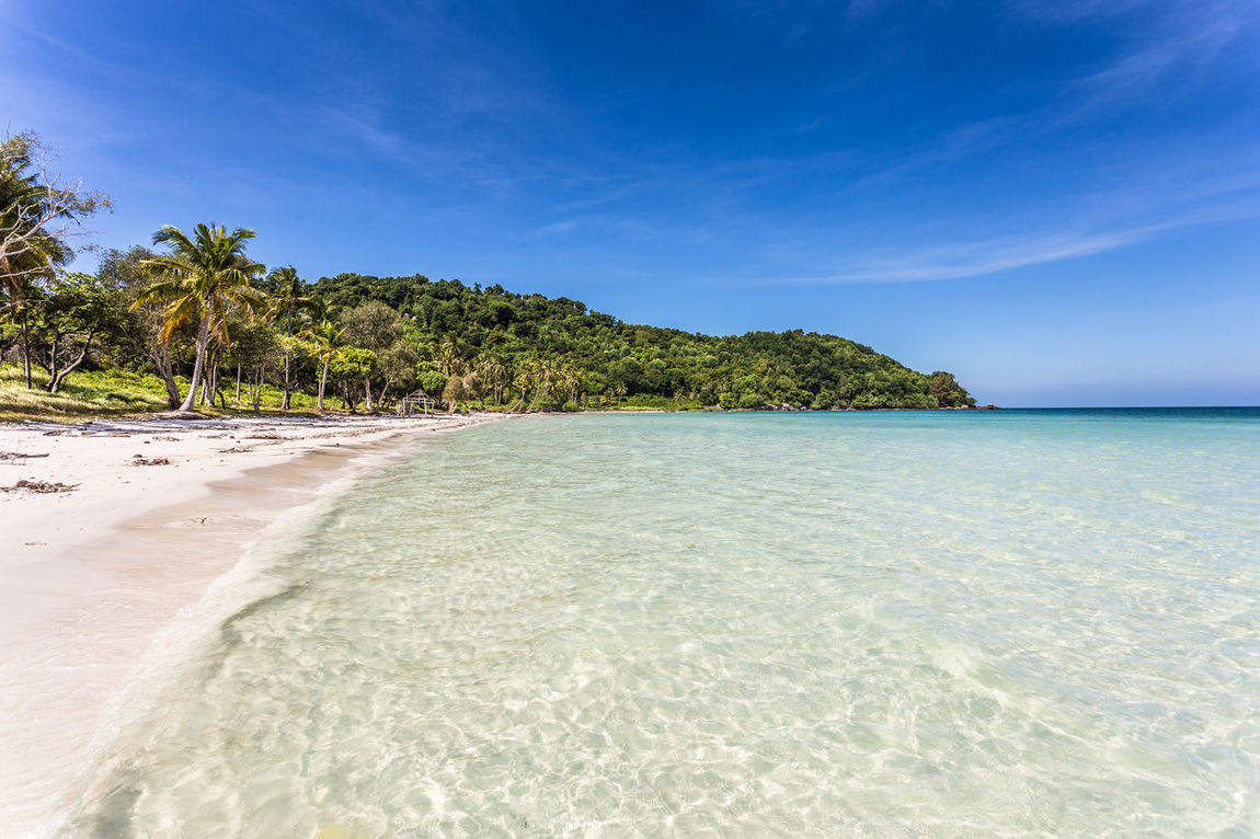 Stunning white sand beach name Bai Sao beach in the Phu Quoc island in south Vietnam in the Gulf of Thailand. Bãi Sao Beach Beauty In Nature Blue Day Gulf Of Thailand Idyllic Nature No People Outdoors Phu Quoc Island Sand Scenics Sea Sky Southeast Asia Sunny Tranquil Scene Tranquility Travel Tropical Turquoise Vacations Vietnam Water
