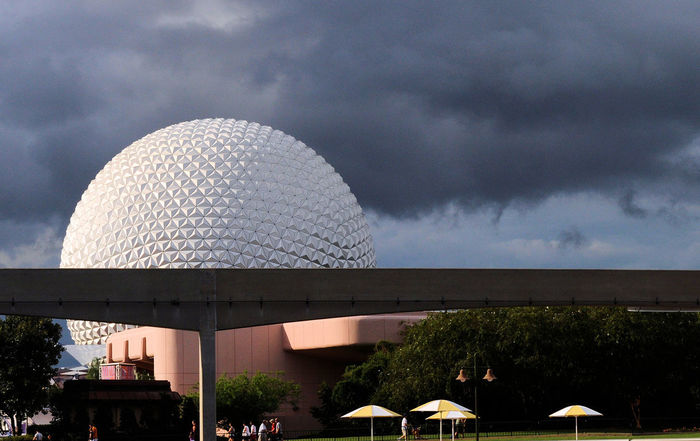 A storm is about to hit at epcot center Bad Weather DisneyWorld Geodesic Dome Orlando Florida Rain Approaching Storm Clouds Architecture Building Exterior Built Structure City Cloud - Sky Day Dome Epcot Modern Monorail  Nature No People Outdoors Sky Storm Clouds Technology Travel Destinations Tree Wide Shot