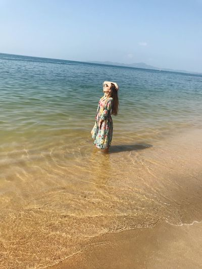 Sea Beach One Person Young Adult Water Sand Young Women