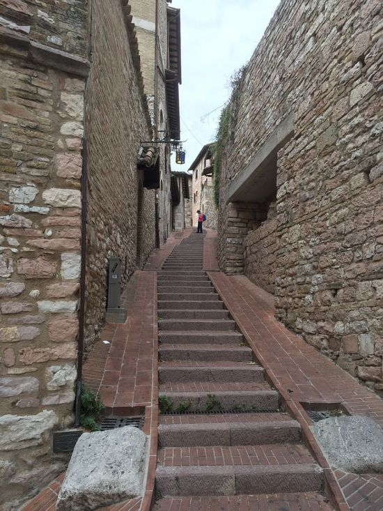 Assisi Italy Stairs Built Structure Building Exterior The Way Forward Real People Brick Wall Day Outdoors Sky Residential Building Men One Person
