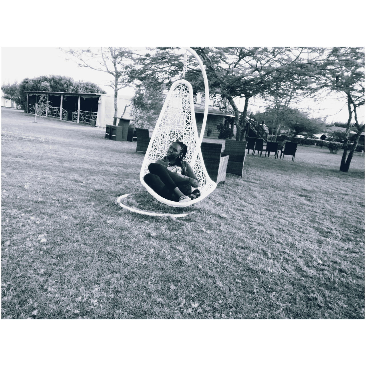 playground, grass, slide, tree, outdoors, park - man made space, day, outdoor play equipment, hanging, no people, childhood, nature, sky