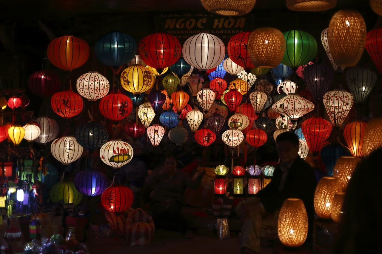 Colorful lantern in the touristic night market of Hoi An central Vietnam UNESCO world heritage ASIA Asian Culture Chinese Lantern Colorful Colors Culture Destination Fullmoon Hanging Hoi An Illuminated Lanterns Lights Market Night Places Tourist Destination Tradition Traditional Culture Travel Vietnam Voyage Beautifully Organized