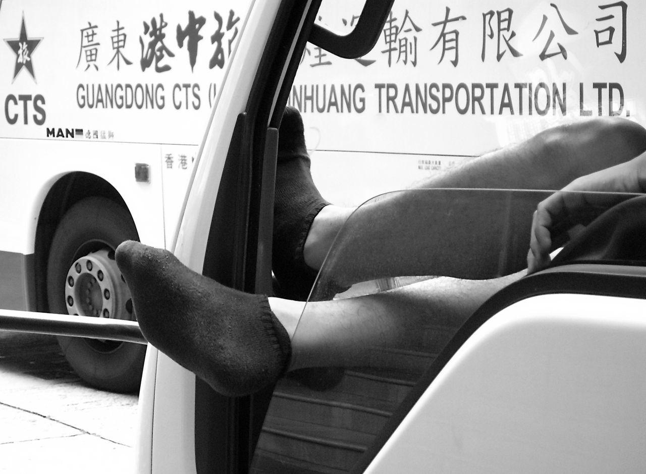 Black Socks Blackandwhite Photography Break Bus Car City Buzz Day Feet Feet Out Of Window HongKong Hongkong Photos Human Body Part Lasy Lasyness Leisure Activity Tranquil Scene Transportation Window Shield