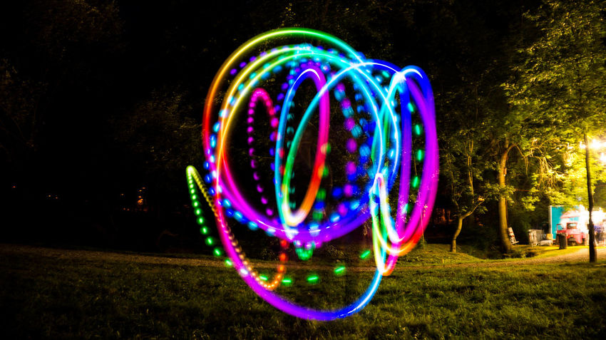 Arts Culture And Entertainment Illuminated Long Exposure Multi Colored Night No People Outdoors Play Wire Wool