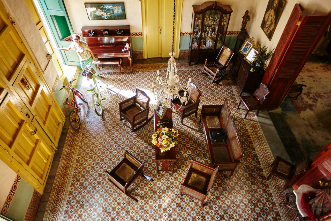 Bed And Breakfast Casa Particular High Angle View Living Room Old But Awesome Parrandas De Remedios Remedios Remedios Cuba Tiled Floor