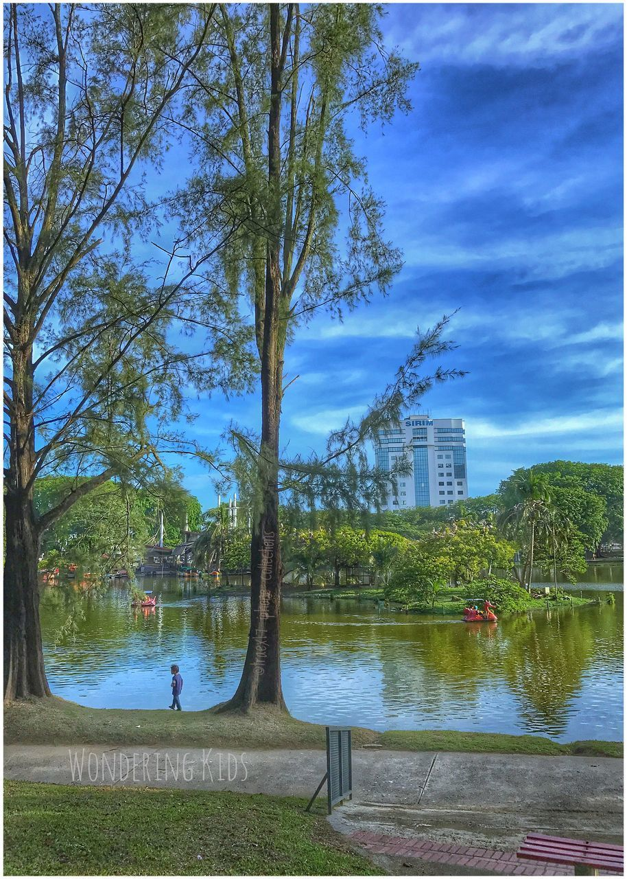 tree, water, sky, lake, built structure, outdoors, architecture, day, growth, cloud - sky, nature, grass, building exterior, real people, beauty in nature, city