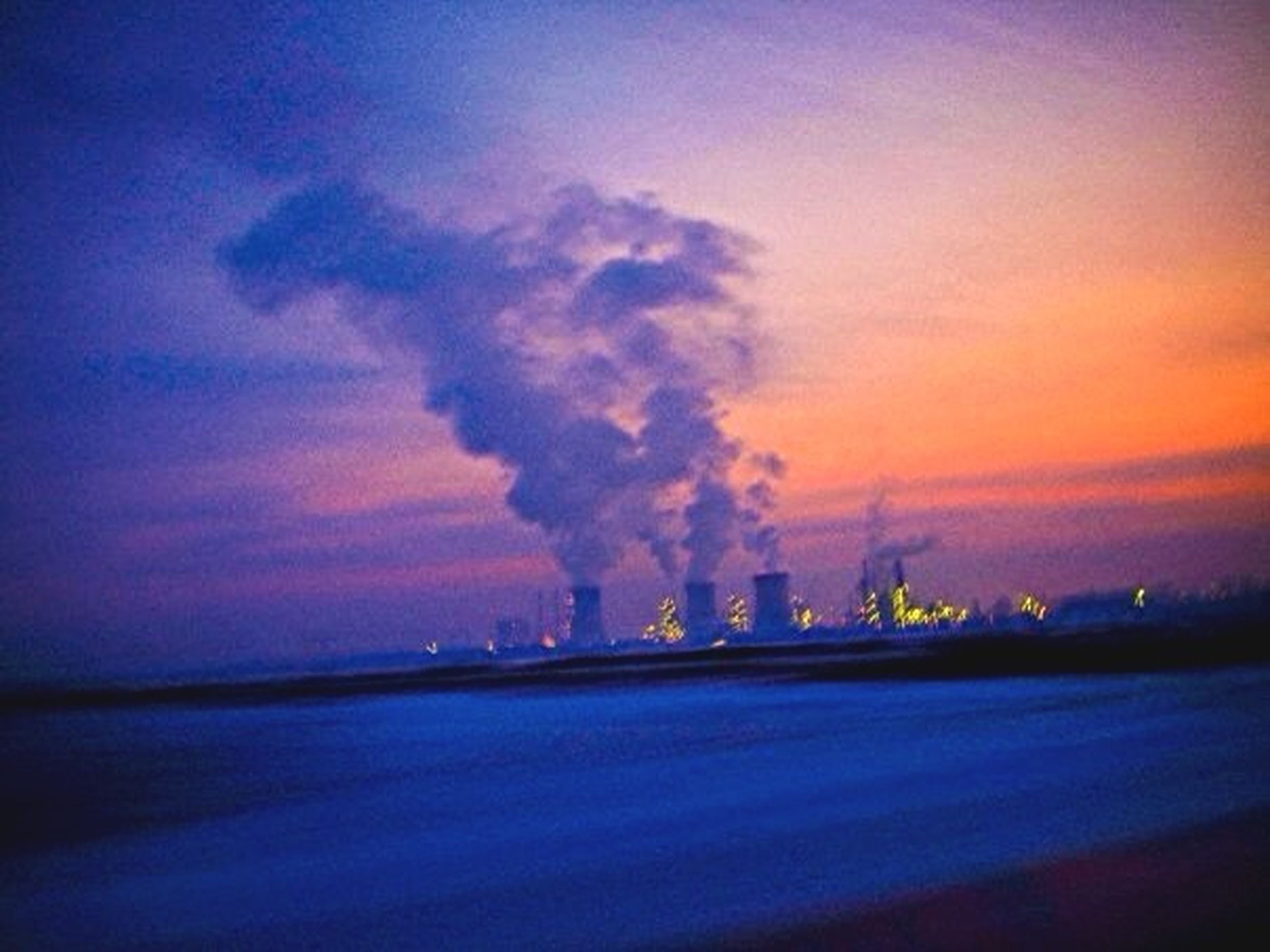 smoke - physical structure, no people, industry, sunset, factory, outdoors, sky, smoke stack, nature, fumes, scenics, night, beauty in nature, global warming
