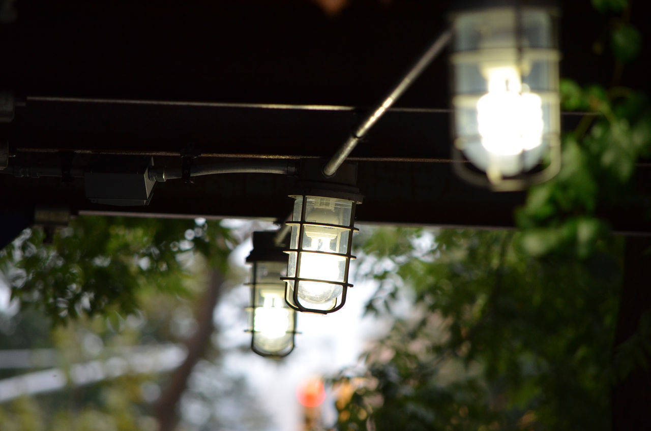 Low Angle View Of Illuminated Lanterns On Ceiling