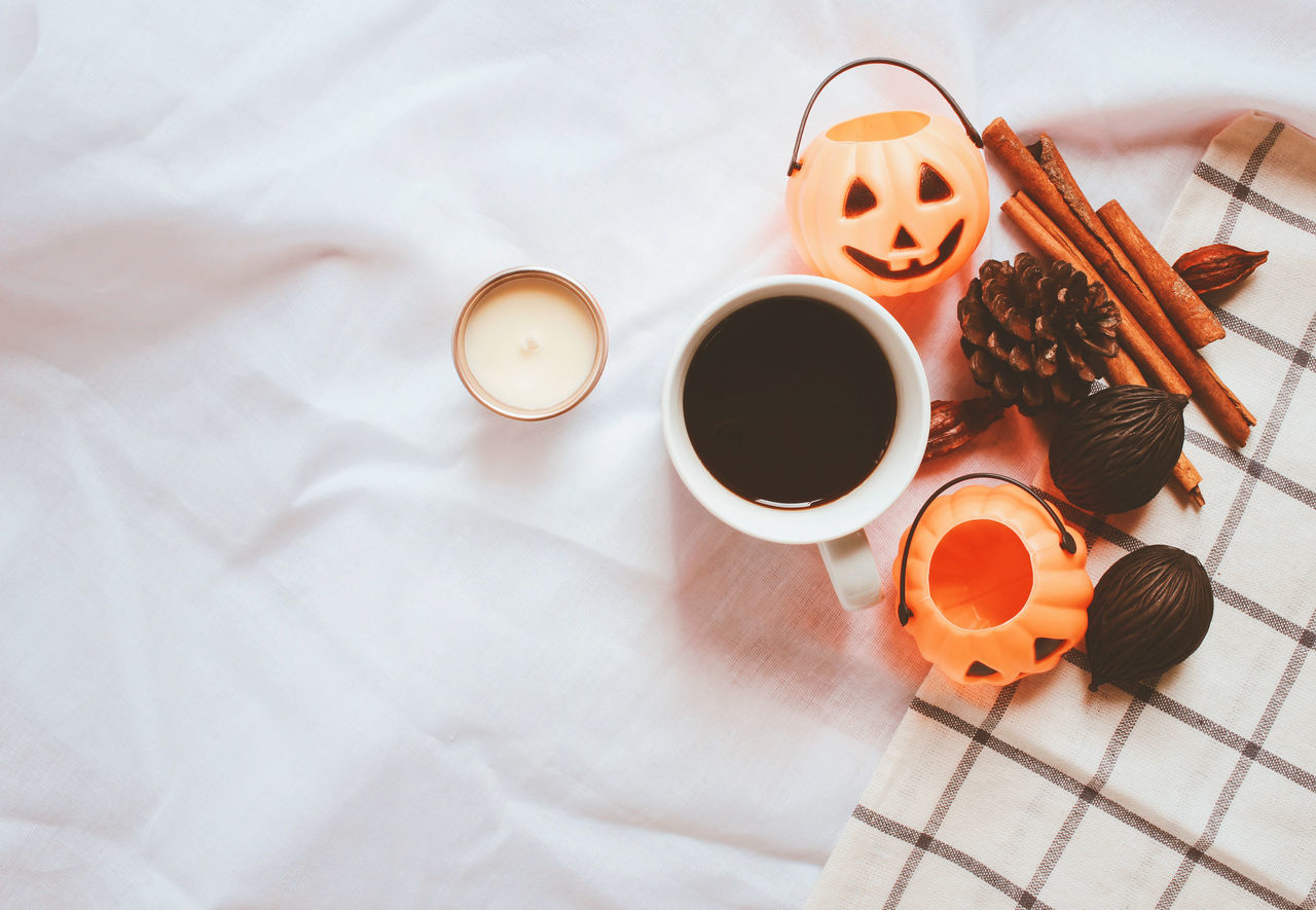 Bed Candle Cinnamon Coffee - Drink Coffee Bean Coffee Cup Copy Space Day Decor Drink Food Food And Drink Freshness Halloween Herb High Angle View Indoors  No People Pumpkin Refreshment Spice Still Life Table Thanksgiving Top View