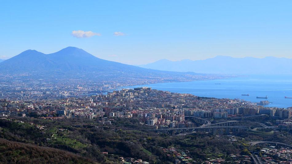 Aerial View Architecture City Cityscape Landscape Mountain Mountain Range Napoli Italy No People Sky Urban Skyline Vesuvio Vesuvio Da Lontano First Eyeem Photo