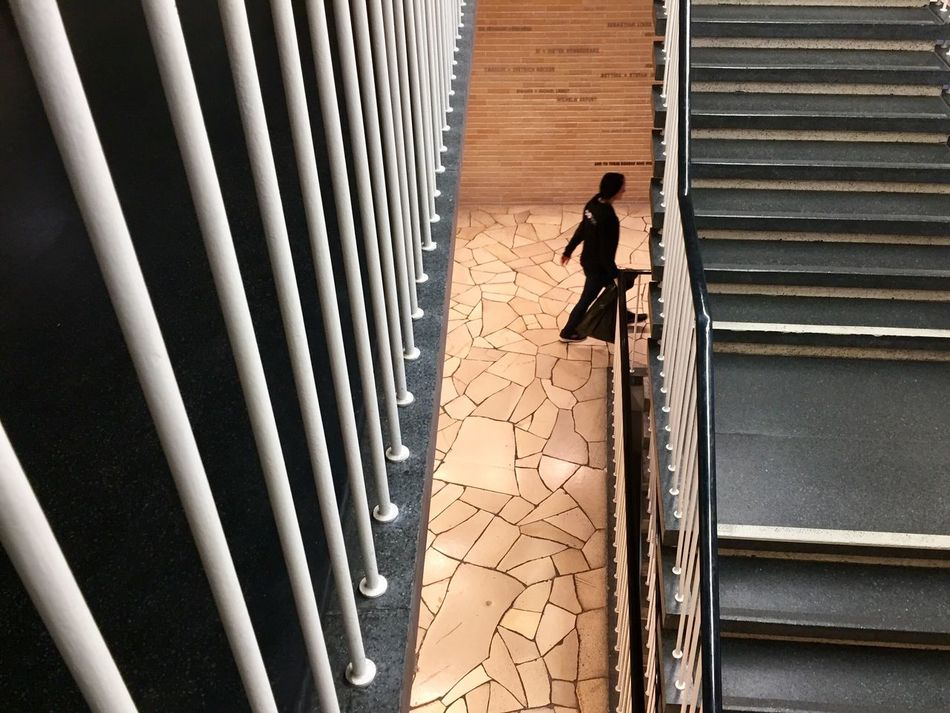 Stairs Staircase Architecture Urban Museum Architecture Built Structure One Person Shadow Day Amerika Haus