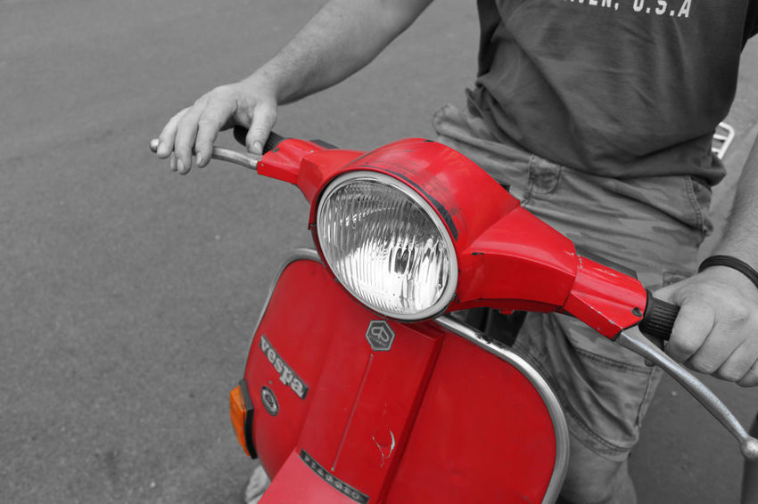 That old Vespa Bike Bikes Black & White Black And White Moped Mopeds Motorbike Motorcycles Red Riding Splash Of Color Splash Of Colour Street That Old Vespa Vespa Vibrant Color Vintage Vespa