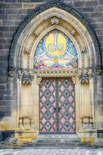 Church Door at Vysehrad Bright Gothic Gothic Architecture Vyšehrad Architecture Building Exterior Built Structure Coloured Door Medieval Multi Colored
