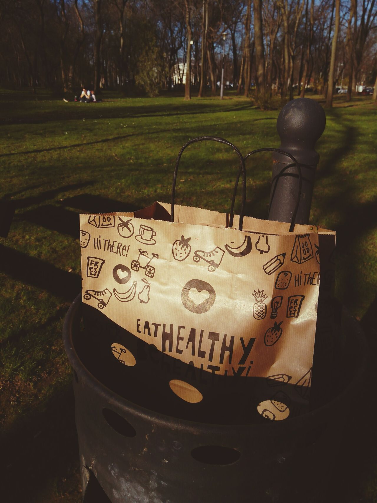 Eat healthy Outdoors Text Day Eat Healthy Trash Bag