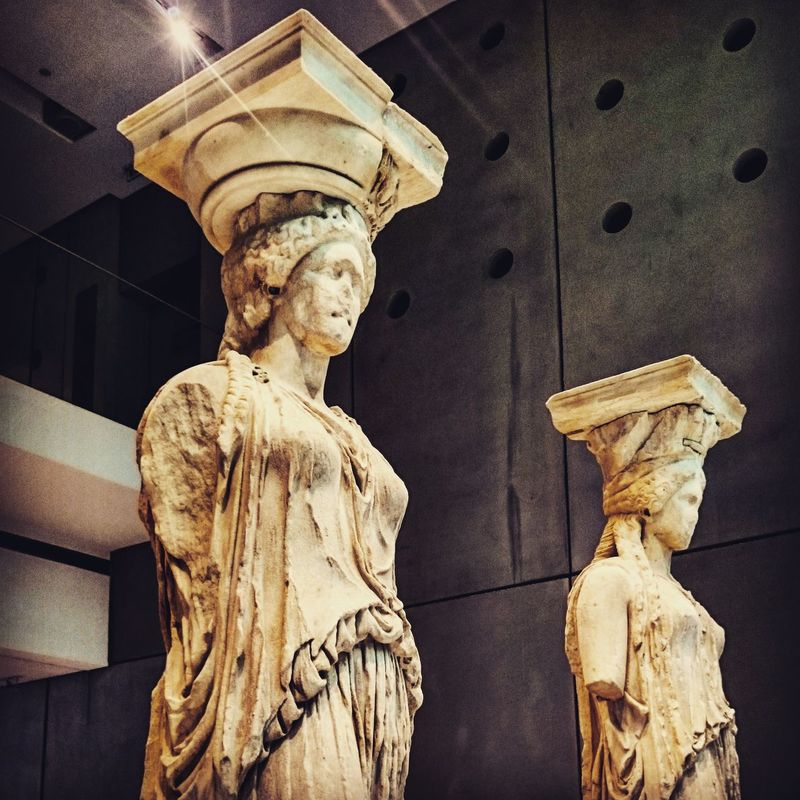 The Caryatids in Erechteion temple. A 2,500 year old greek statues. One is now in the British Museum in London. The other original five figures which are replaced onsite by replicas in Acropolis are being exhibited and protected in the Acropolis Museum in Athens. Wheningreece MostsacredinAcropolis Ancient Greekmythology Eyem Best Shot - Architecture