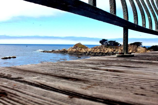 Happy Place ☀️🌊 Horizon Over Water Tranquil Scene Blue Wooden Deck Rusty Railing Coastline Different Perspective Different Angle Happy Place in Carmel Highlands