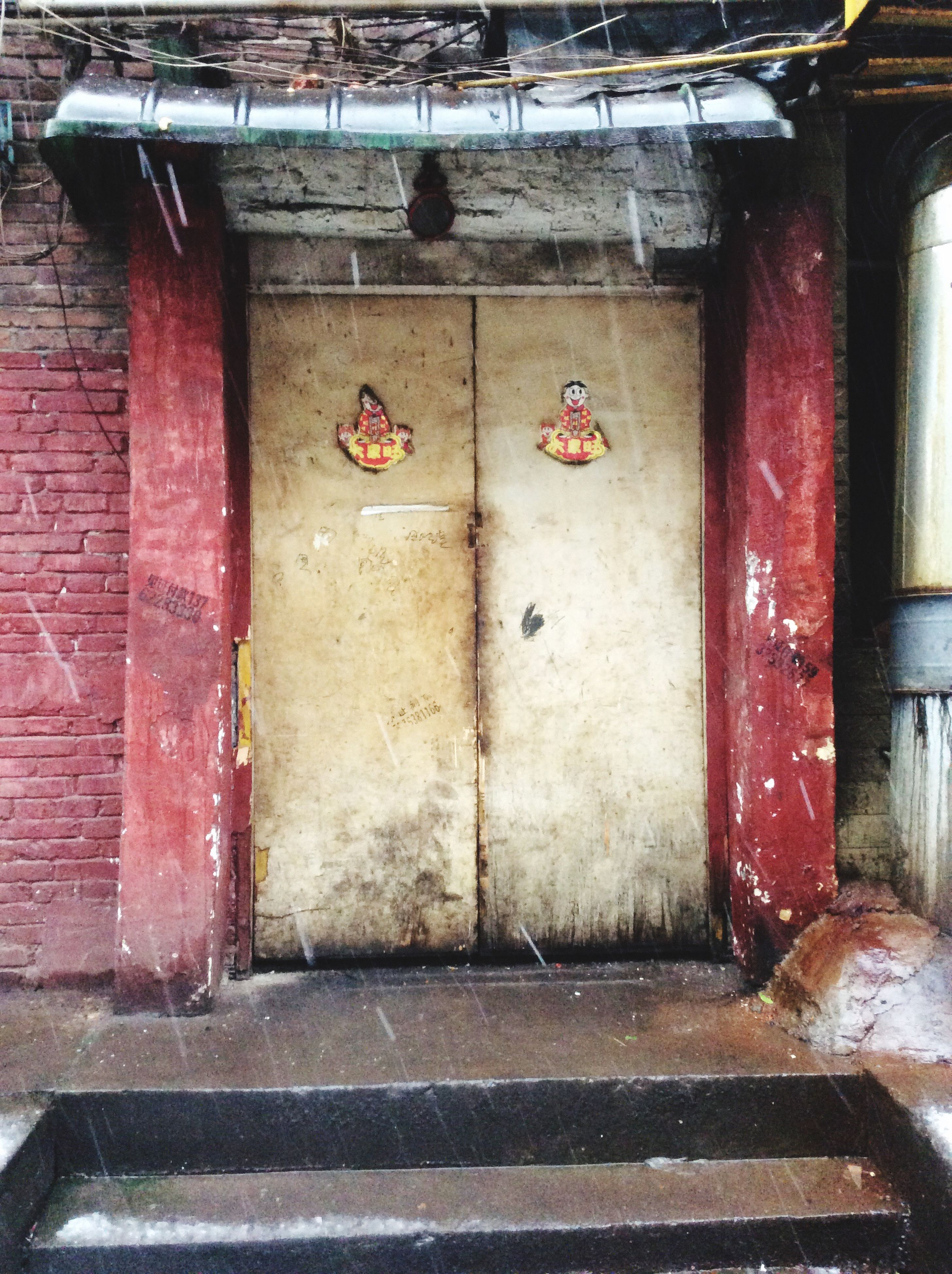 architecture, built structure, door, building exterior, closed, wall - building feature, old, house, entrance, red, weathered, wall, abandoned, day, no people, outdoors, sidewalk, empty, street, damaged