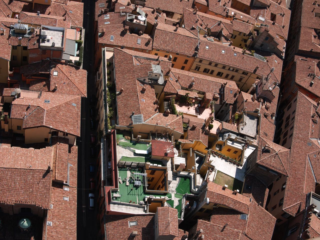 Aerial View Of Building Roofs