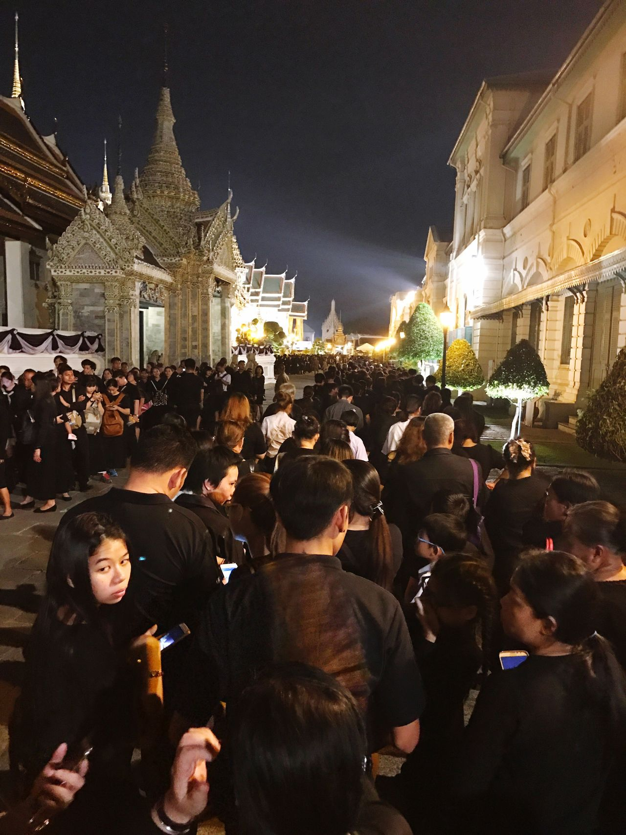 Respect King Of Thailand Large Group Of People Building Exterior Architecture Built Structure Religion Travel Destinations Spirituality Men Crowd Place Of Worship Real People Women Outdoors Night Adults Only People Adult