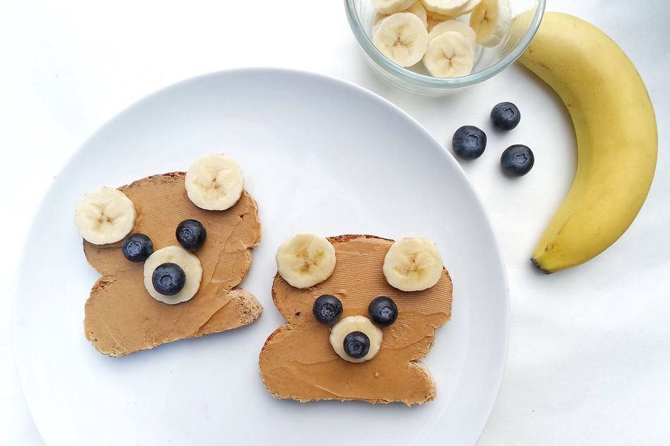 Bear shaped sandwich Food Table Plate Ready-to-eat Healthy Eating White Background Breakfast Close-up Brunch High Angle View Toasted Bread Sandwich Bread