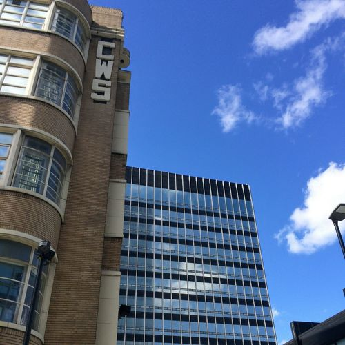 High Up #CWS sign @noma_mcr @coopuk #skyline #mancmade #capturemcr #igersmcr #manchestergram #ilovemcr #mcr #manchester #wearemcr #wearemanchester #lookup #iconic #architecture #historicalbuilding #citycentre #nofilter #iphone6 #coop #mcruk Architecture Building Exterior Window Sky Tower Tall - High Office Building Skyscraper Building Story