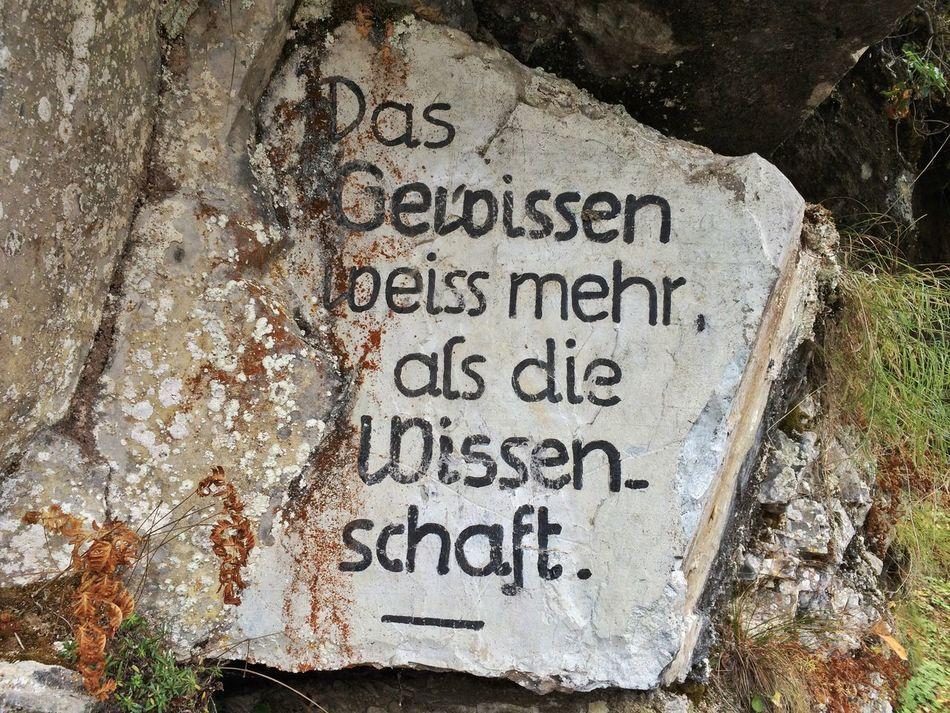 Das Gewissen weiss mehr als die Wissenschaft Signs Rock Nature_collection Naturelovers EyeEm Nature Lover EyeEmSwiss Streamzoofamily