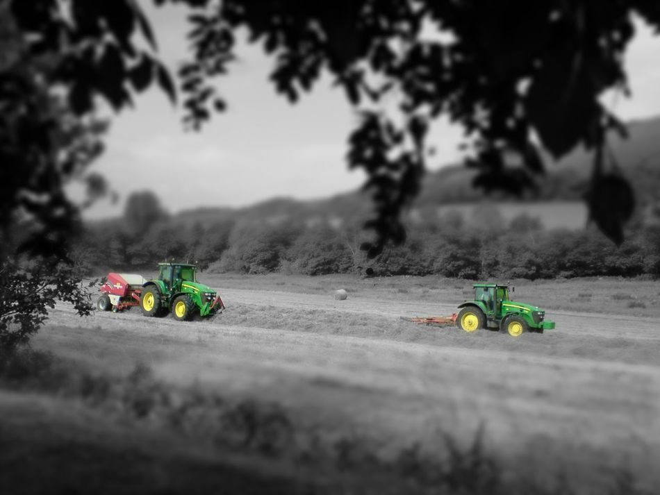Transportation Black And White With A Splash Of Colour Summer Memories 🌄 Haymaking The Modern Way John Deer Tractor