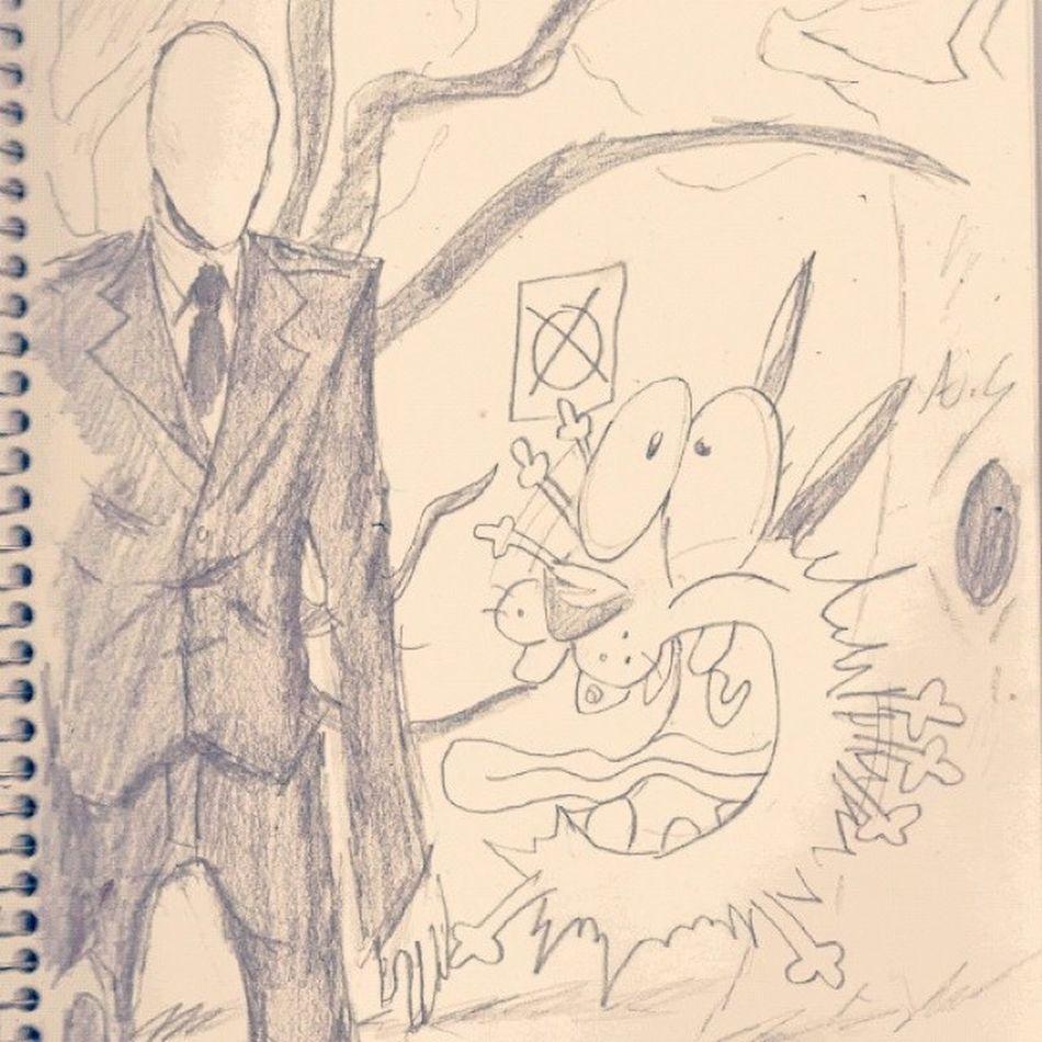 Courage meets The Slenderman SlenderMan Couragethecowardlydog Cartoonetwork ArtWork Art Sketch 8pages Fanart