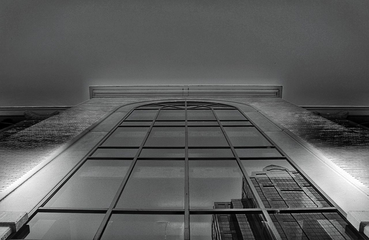 architecture, built structure, building exterior, low angle view, no people, modern, illuminated, skyscraper, city, indoors, day, sky
