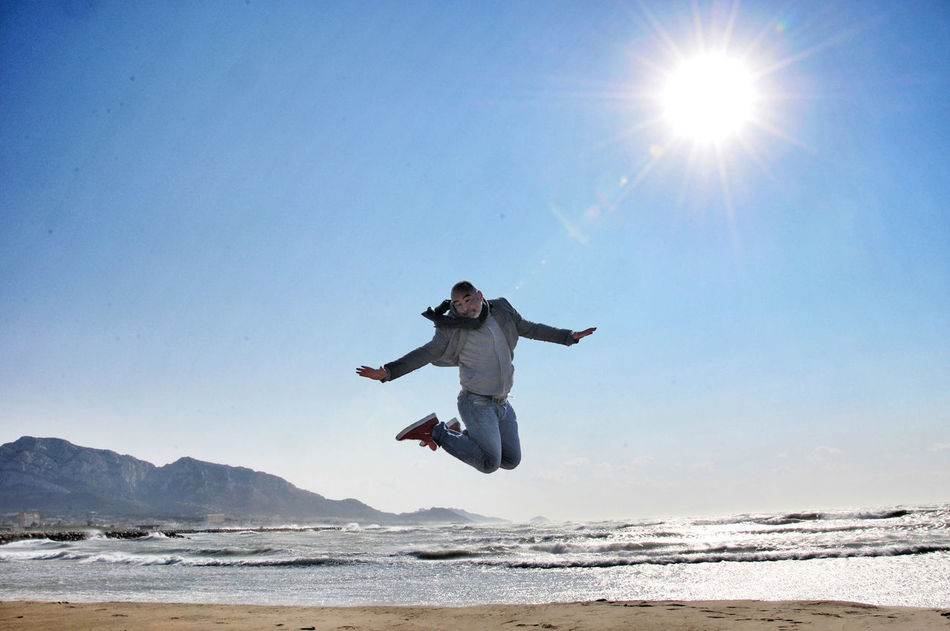 Beautiful stock photos of jump, Casual Clothing, Clear Sky, Day, Enjoyment