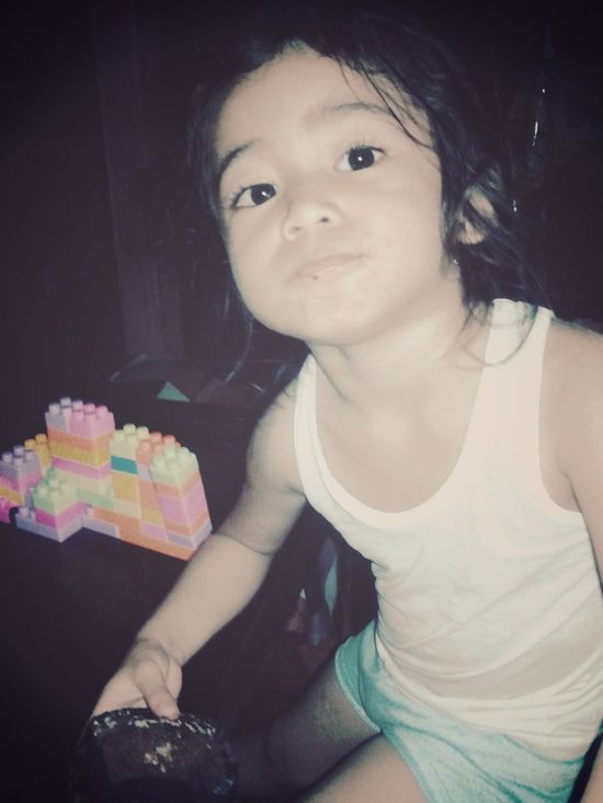 A Lego Builder and a lava chocolate eating cutie monster. Hihi. ♥♥ Kids Being Kids. :)