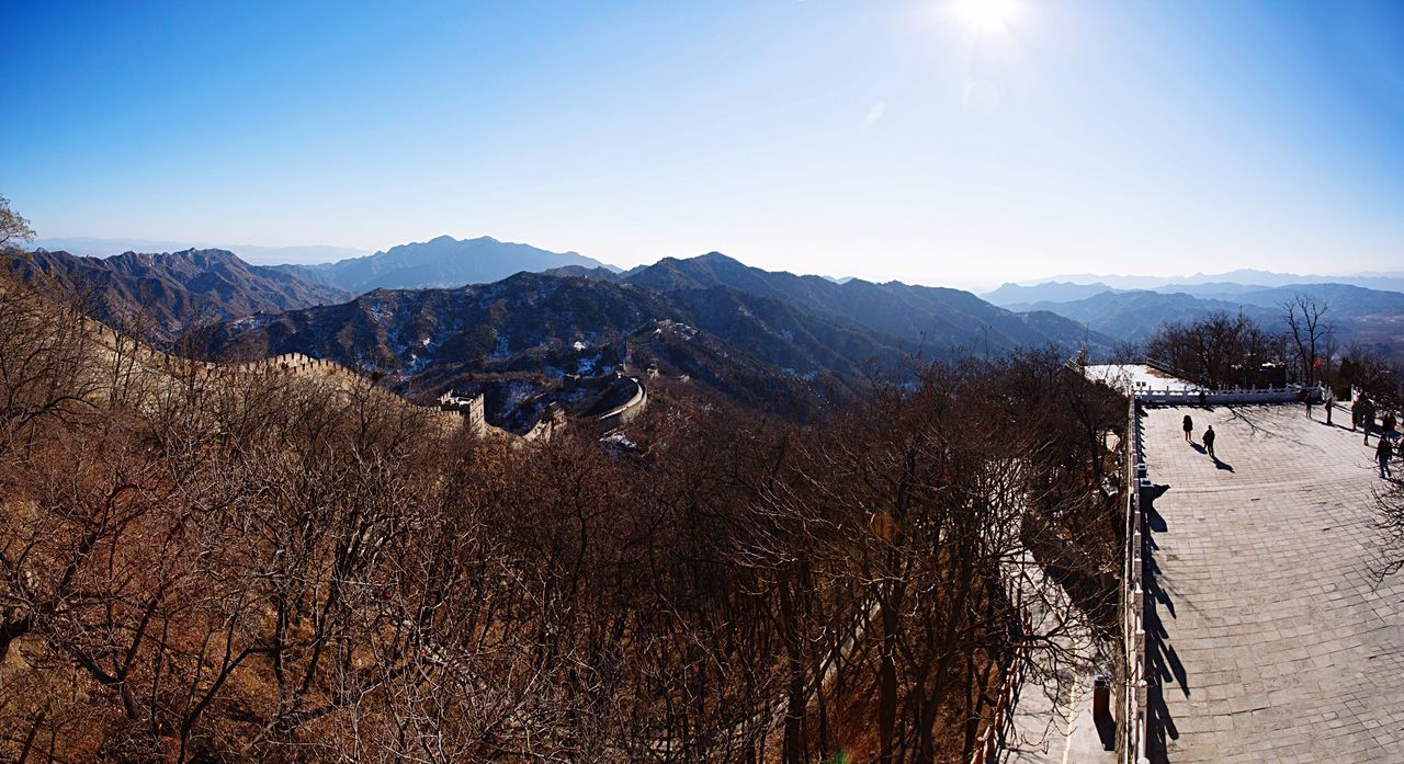 The Great Wall The Great Wall Of China The Great Wall In Winter Mountains Mountain Range View Landscape Panorama Nature Outdoors China ASIA Travel Traveling Heritage Culture History Architecture Monument Ancient Architecture Blue Sky Sunlight