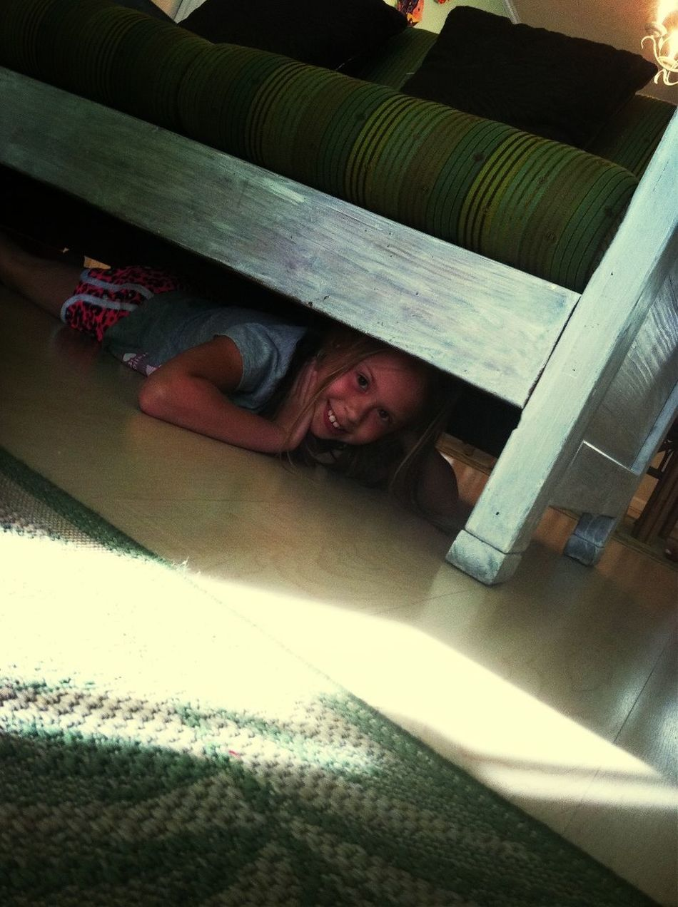 Grace under the couch