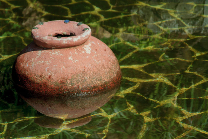 Wishing Pot Clay Pot Day Green No People Outdoors Pond Reflection Wishing Pond