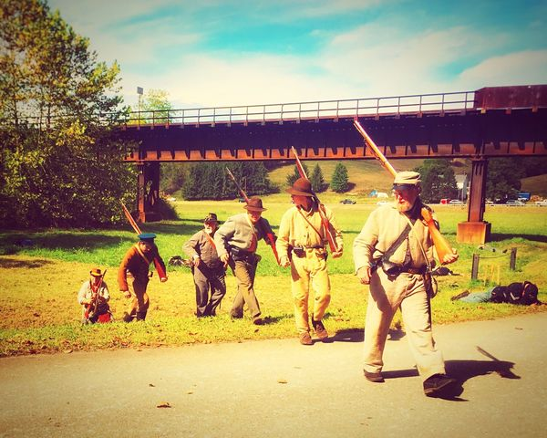 civil war re-enactment at the white covered bridge festival. //sept.2015// Check This Out Showcase: March Old Bridge Trees And Sky Green Grass Civil War Re-enactments Covered Bridge Country Road White Covered Bridge IPhoneography CoveredBridge Fall Festival Greene County, PA