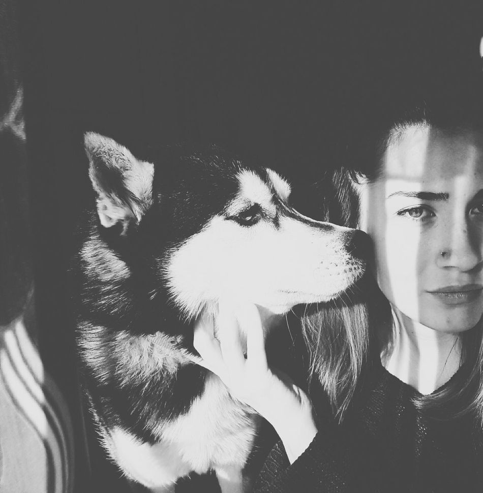 Young Women Dog Love Dogfriend Blackandwhite Photography Selfphotography