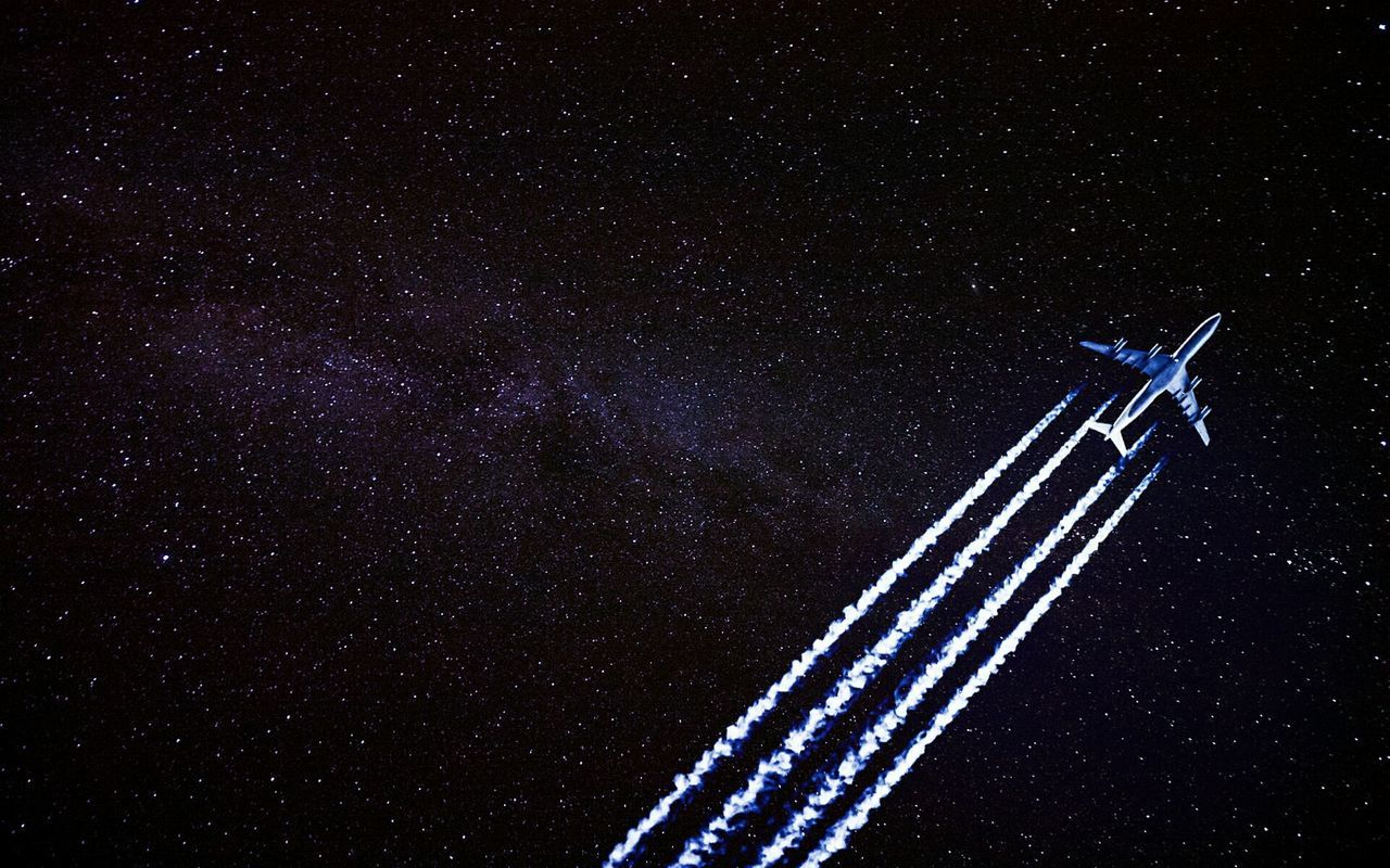 Night Star - Space Astronomy Sky No People Galaxy Constellation Star Field Space Nature Vapor Trail Plane Photo Space And Astronomy Violet Science Stars Close-up Sony Clear Sky Flying Airplane Photography