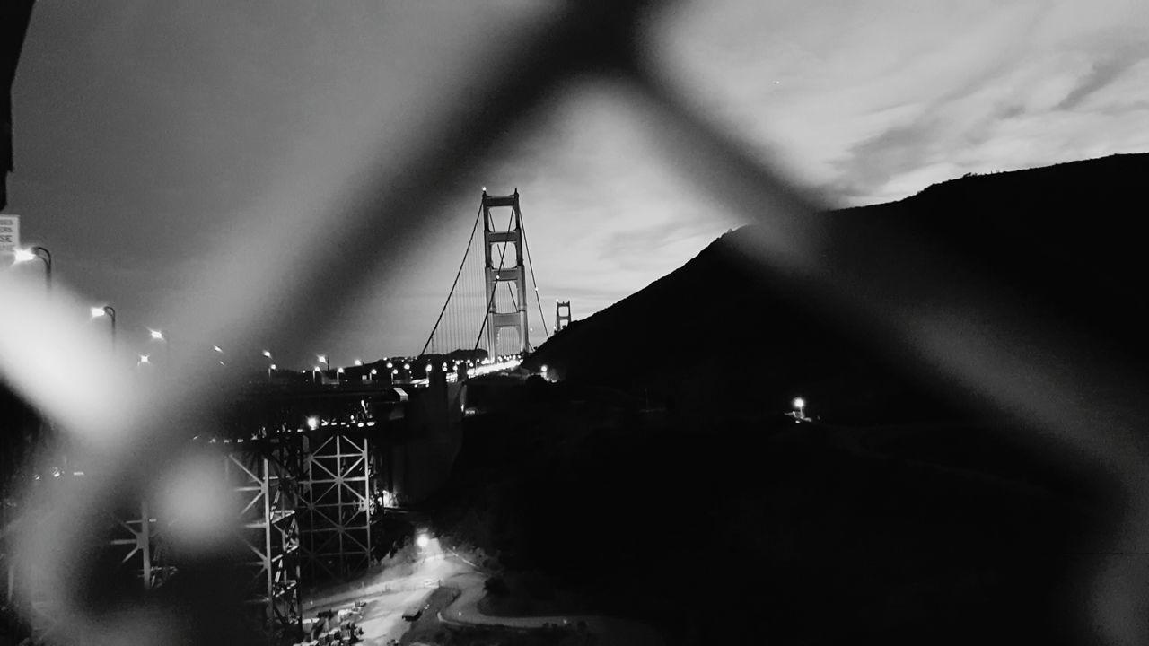 Golden Gate Bridge. San Francisco. Nightphotography Outdoors Sky Nightphotgraphy  SanFranciscoBay Tranquility Beauty Illuminated Chainlinkfence Chainlinkfencephotography Steelbridge SteelStructure Obscurity Night Bridgeobsession EyeEmNewHere