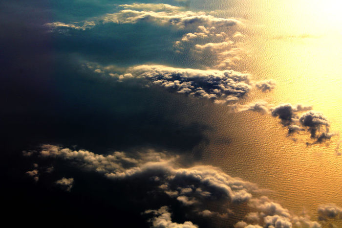 Beauty In Nature Cloud - Sky Day Distortion Environment Ethereal Flat Fluffy Flying Flying High Flying High. Heaven Nature Nature Ocean Sea And Sky Sky Sky Only Summer Sunbeam Sunlight Textured  Tranquility Water Wide Angle