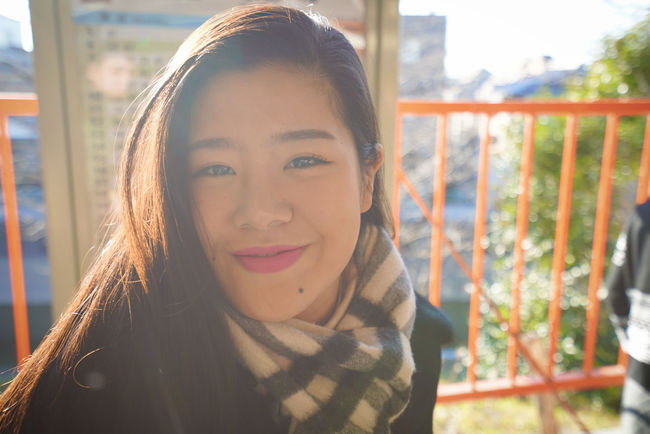 Beautiful Girl Beauty Beauty In Nature Burberry Bus Station Chinese Chinese Girl Girl Happiness Happy People Happy Time Headshot Human Face Middle Class Portrait Smile Smile Girl Sundown Sunshine