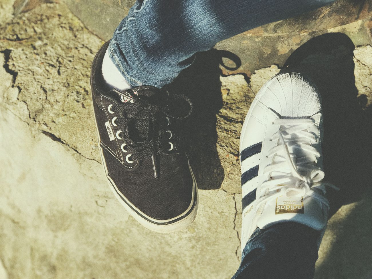 Shoe Low Section Human Leg Real People One Person Human Body Part Human Foot Canvas Shoe High Angle View Personal Perspective Standing Jeans Unrecognizable Person Shoelace Lifestyles Leisure Activity Sports Shoe Day Casual Clothing Sock